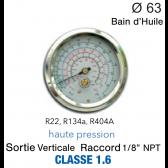 Manomètre avec Bain d'Huile R-134a, R-404A, R-22 - HP