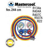 Manifold 2 Vannes à piston Mastercool, flexible 244 cm et coupleurs