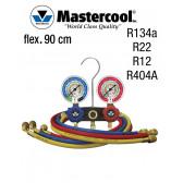 Manifold à voyant - 2 Vannes, Mastercool R134A -R22- R12- R404A, flexible 90 cm