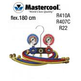 "Manifold à voyant - 2 Vannes, ""Mastercool"" R410A, R407C e R22, mangueira 180 cm"