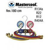 Manifold à voyant - 2 Vannes, Mastercool R134A -R22- R12- R404A, flexibles de 180 cm