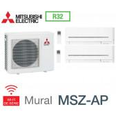 Mitsubishi Bi-split Mural Compact MXZ-3F68VF + 1 MSZ-AP25VGK + 1 MSZ-AP42VGK - R32