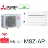 Mitsubishi Bi-split Mural Compact MXZ-2F53VF + 2 MSZ-AP25VGK - R32