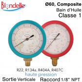 """Manometro de substituição HT """"Blondelle"""" R134A-R404A, R449A, R407A, R452A-R22-R407C"""
