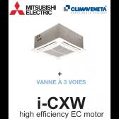 Ventilo-convecteur Cassette 4 voies avec moteur EC à haut rendement i-CXW 2T 0702 + VANNE À 3 VOIES