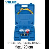 Coffret manomètre 2 voies avec voyant et flexible  R134a, R22, R404A, R407C - 120 cm