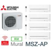 Mitsubishi Quadri-split Mural Compact MXZ-5F102VF + 2 MSZ-AP15VGK + 1 MSZ-AP25VGK + 1 MSZ-AP50VGK - R32