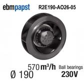 Ventilateur centrifuge EBM-PAPST - R2E190-AO26-05 - en 230 V