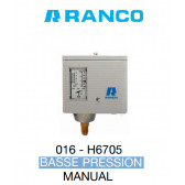 "Pressostato simple manual BP de marca ""Ranco"" O16-6705"