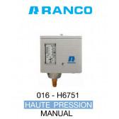 "Pressostato simples manual HP de marca ""Ranco"" O16-6751"