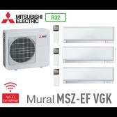 Mitsubishi Tri-split Mural Inverter Design MXZ-3F54VF + 2 MSZ-EF22VGKW + 1 MSZ-EF25VGKW