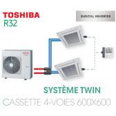 Ensemble Twin Toshiba Cassettes 4-voies 600 x 600 DI R32 monophasé