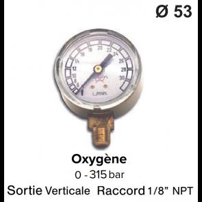 Manomètre pour détendeur - Oxygène - 0 à 200 / 315 bar