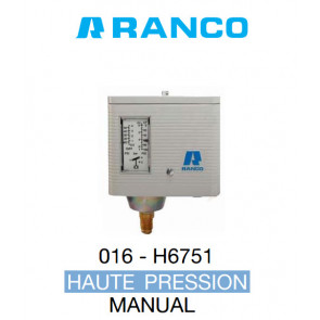 "Pressostato simples manual HP de marca ""Ranco"" O16-6751"